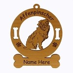 1016 Affenpinscher Sitting Ornament Personalized with Your Dog's Name